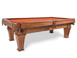 Brittany billiards table featuring a star on it's cabinet