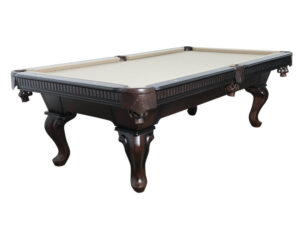 Pool table with grey felt and ball and claw leg