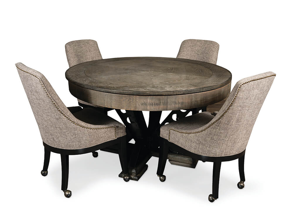 Vienna Game Table Set Convertable, Round Gaming Table With Chairs