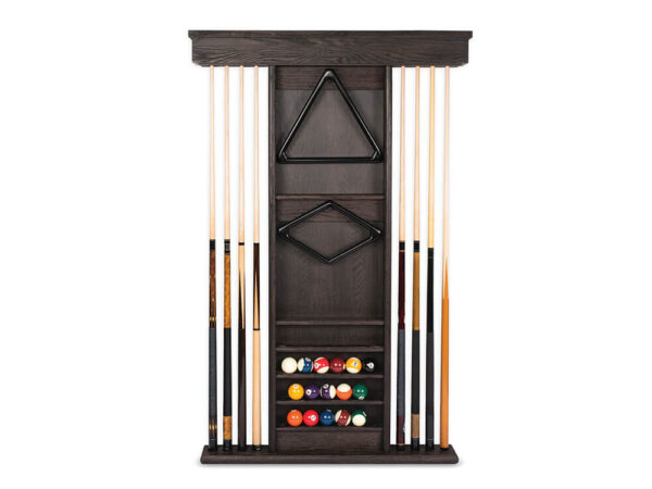Cue Rack with cues and billiard balls